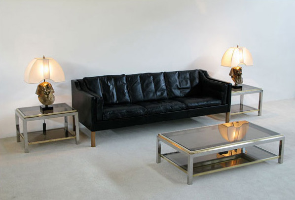 Pair of chrome and brass side tables Jean Charles