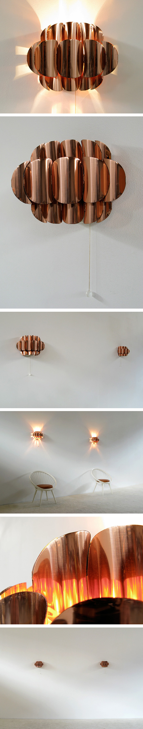 Pair of copper wall sconces Thorsten Orrling Large