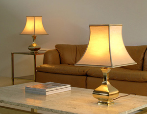 Pair of elegant classic regency brass table lamps