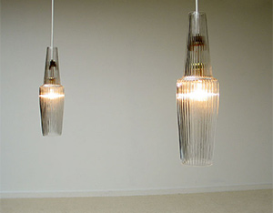 Pair of French glass lamps 1950