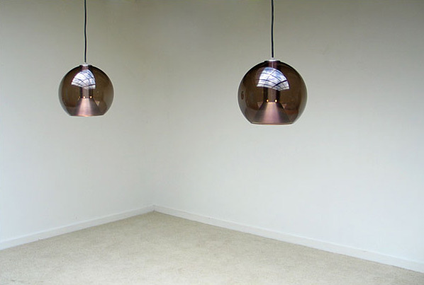 Pair of glass fume globes Raak lamps 1970