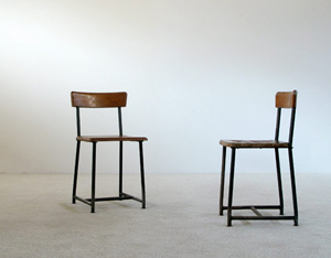 Pair of industrial children chairs