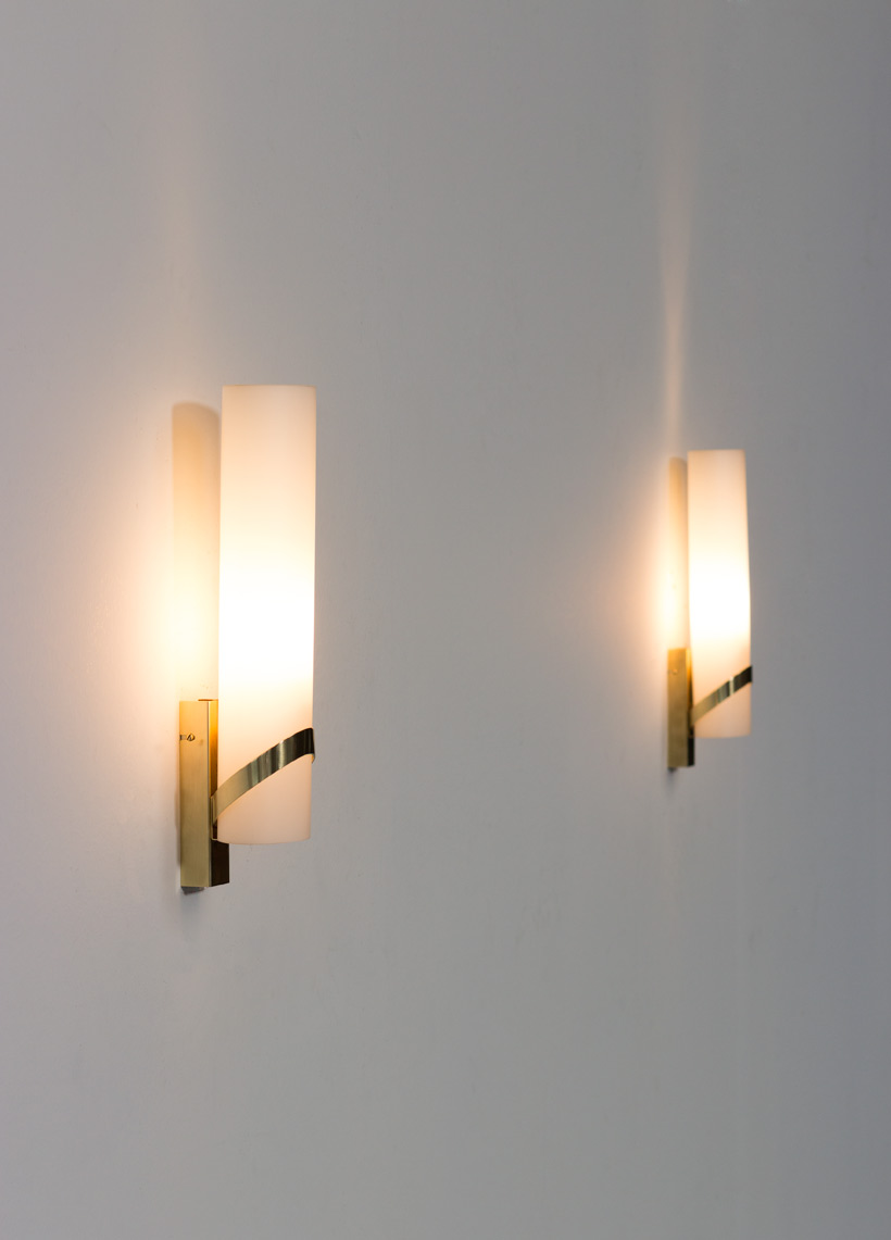 Pair of Italian opaline cylinder and brass sconces wall lights