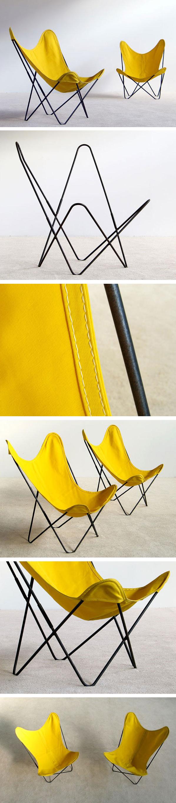 Pair of Jorge Ferrai Hardoy lounge chairs Large