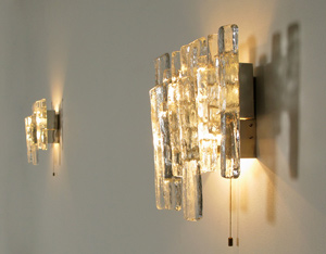 Pair of Kalmar glass sconces light sculpture 1970