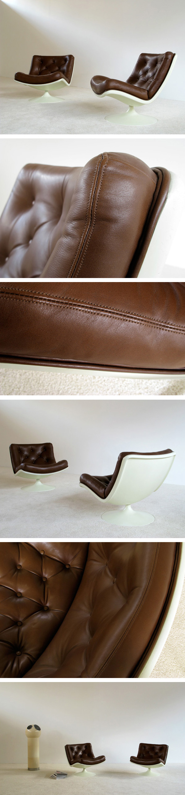 Pair of Leather Geoffrey Harcourt lounge chairs Artifort Large