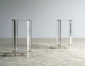 Pair of lucite chrome end tables Karl Springer