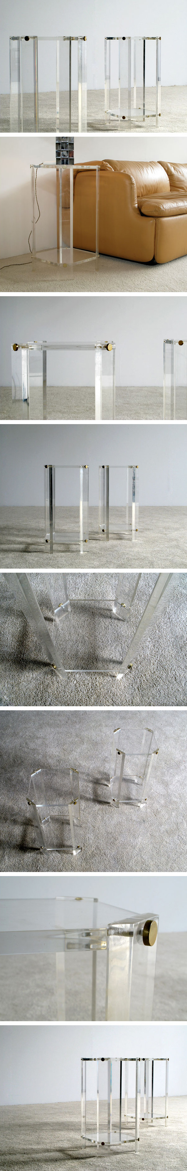 Pair of lucite chrome end tables Karl Springer Large