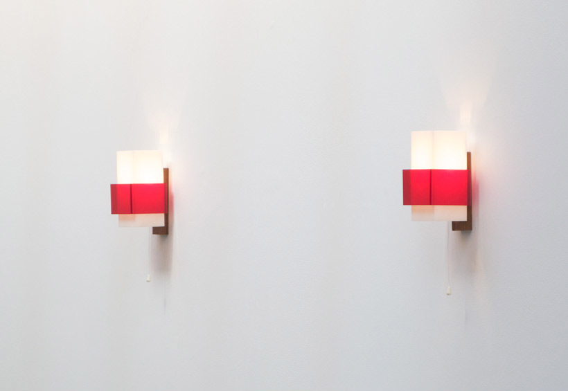 Pair of plexiglass sconces