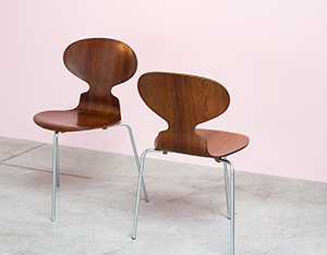 Pair of Rosewood Ant chairs designed by Arne Jacobsen Novo Nordisk