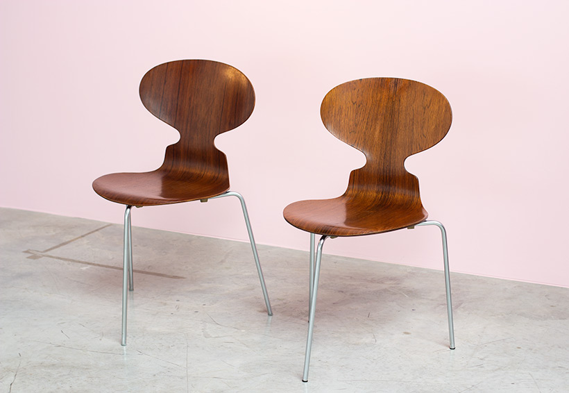 Pair of Rosewood Ant chairs designed by Arne Jacobsen Novo Nordisk img 4