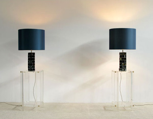 Pair of Silk and chrome Maison Jansen table lamps