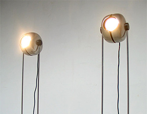 Pair of Space Age Cricket floor lamps Raak 1970