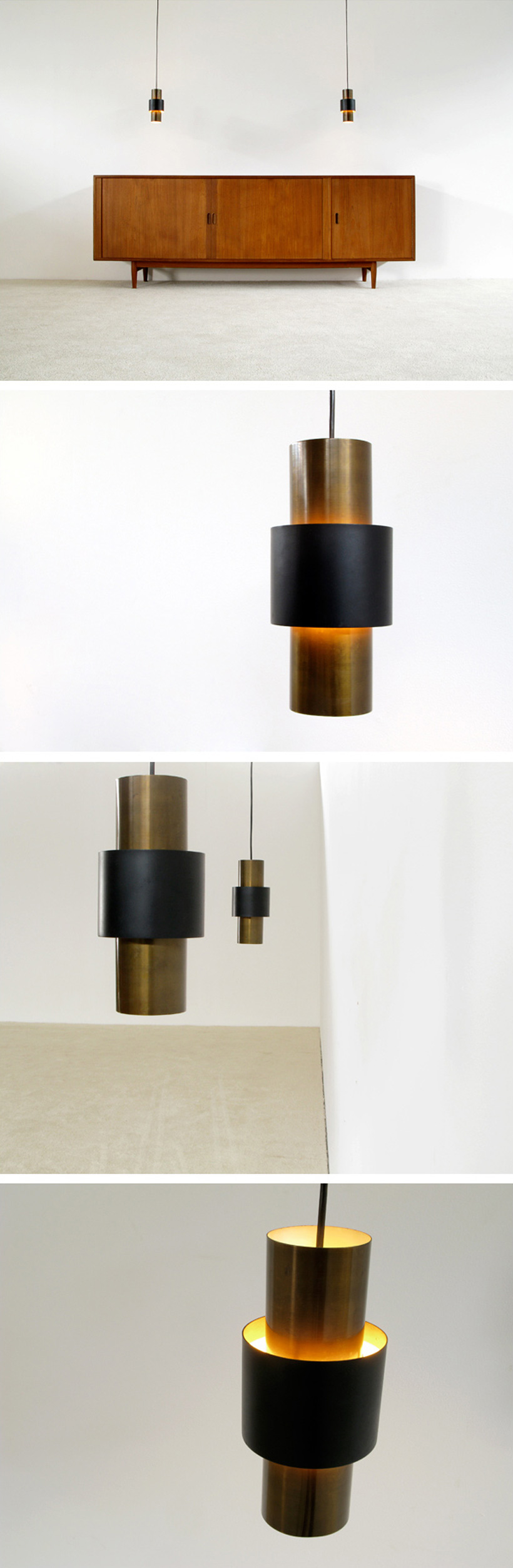 Pair of Tunika pendant ceiling lamps Jo Hammerborg Fog & Mørup Large