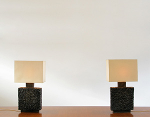 Pair of unique handmade ceramic table lamps
