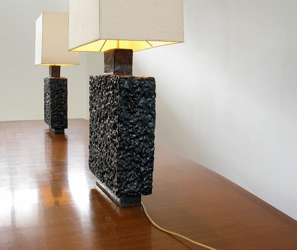 Pair of unique handmade ceramic table lamps