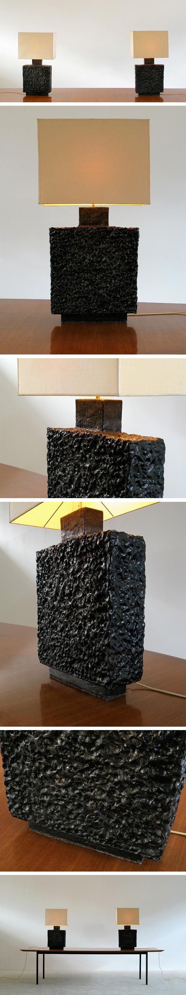 Pair of unique handmade ceramic table lamps Large
