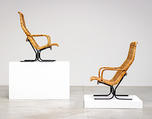Pair rattan lounge chairs Dirk van Sliedregt for Gebr. Jonkers 1960