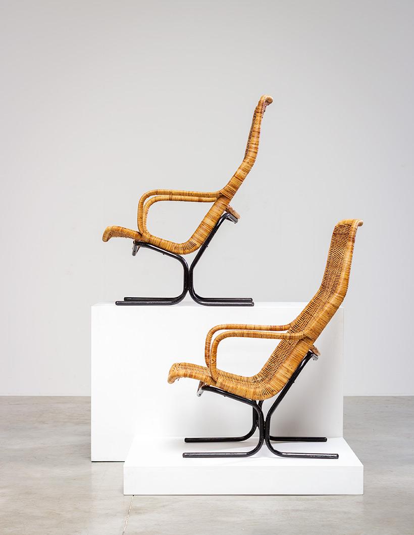 Pair rattan lounge chairs Dirk van Sliedregt for Gebr. Jonkers 1960