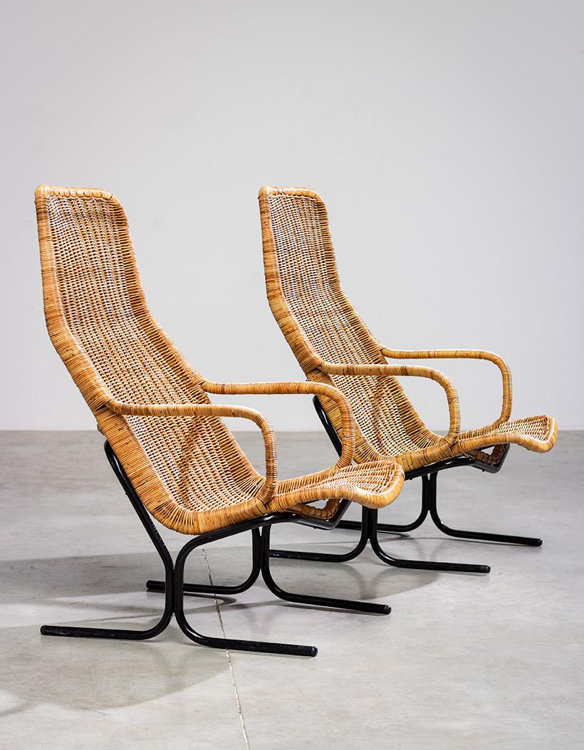 Pair rattan lounge chairs Dirk van Sliedregt for Gebr. Jonkers 1960 img 3