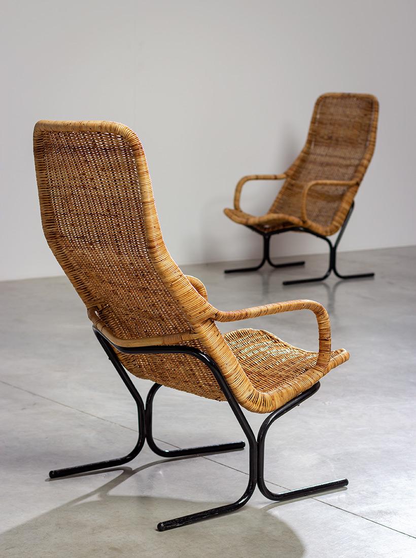 Pair rattan lounge chairs Dirk van Sliedregt for Gebr. Jonkers 1960 img 4