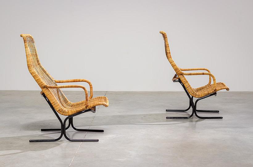 Pair rattan lounge chairs Dirk van Sliedregt for Gebr. Jonkers 1960 img 5