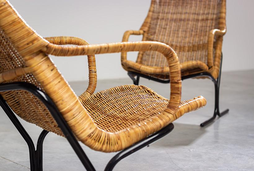 Pair rattan lounge chairs Dirk van Sliedregt for Gebr. Jonkers 1960 img 6