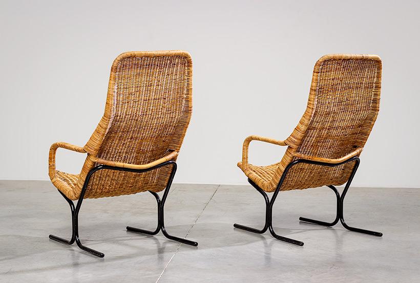 Pair rattan lounge chairs Dirk van Sliedregt for Gebr. Jonkers 1960 img 7