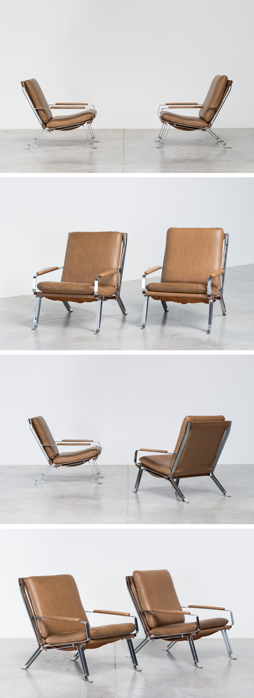Pair sculptural chromed lounge chairs with armrests Large