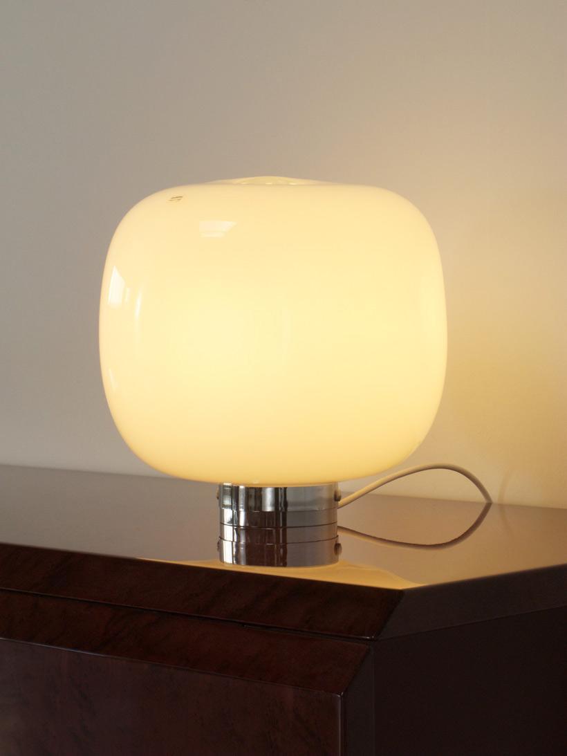 Paolo Tilche cubo glass table lamp Barbini Murano