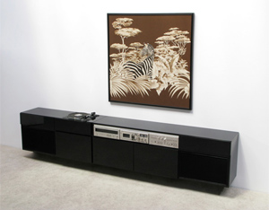 Paolo Tommasi large black lacquered Stereo Sideboard