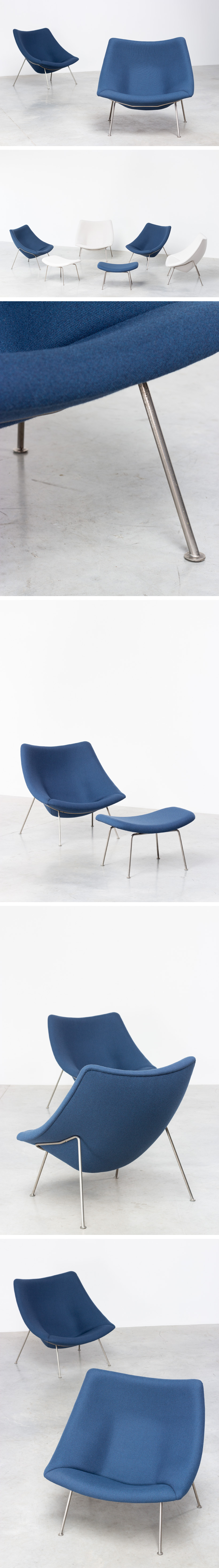 Paulin Pierre Oyster F159 pair of lounge chairs with ottoman Artifort Large