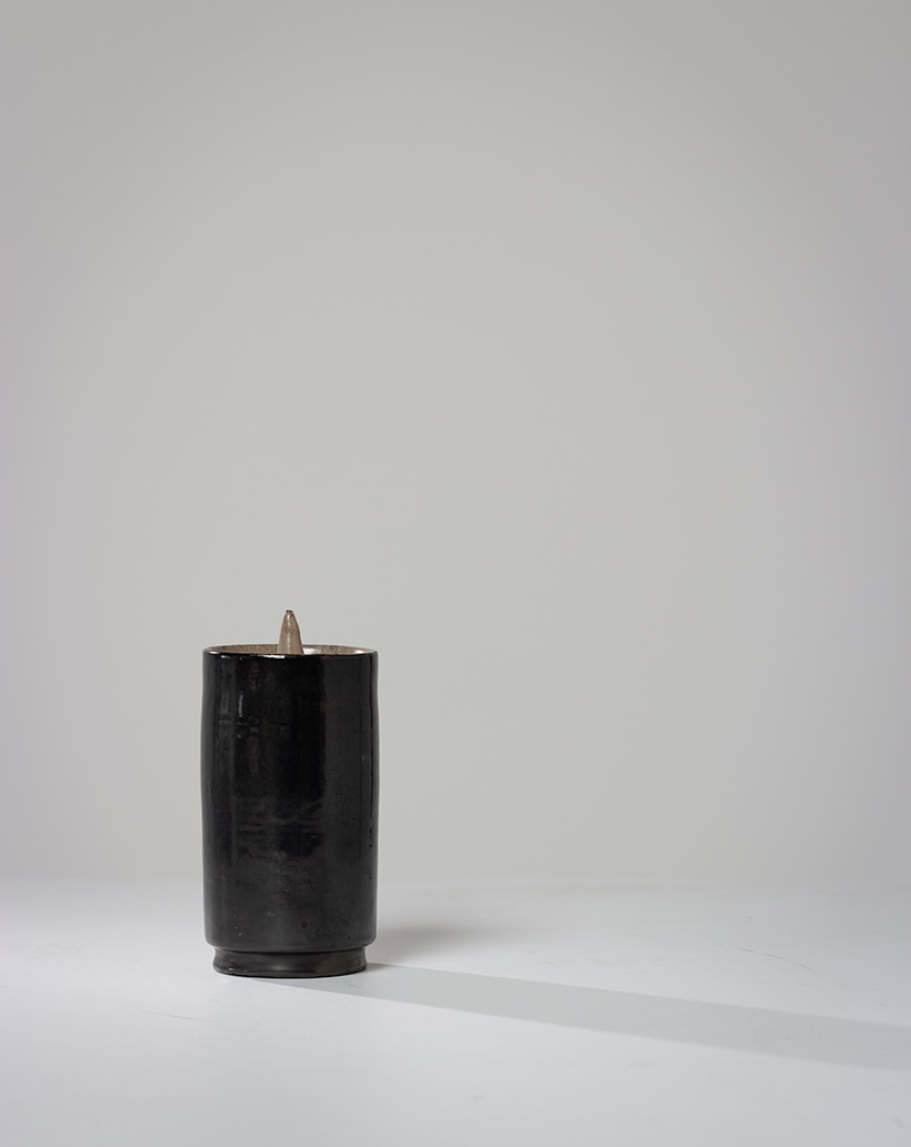 Perignem black cylindrical vase Belgian Ceramic 1960