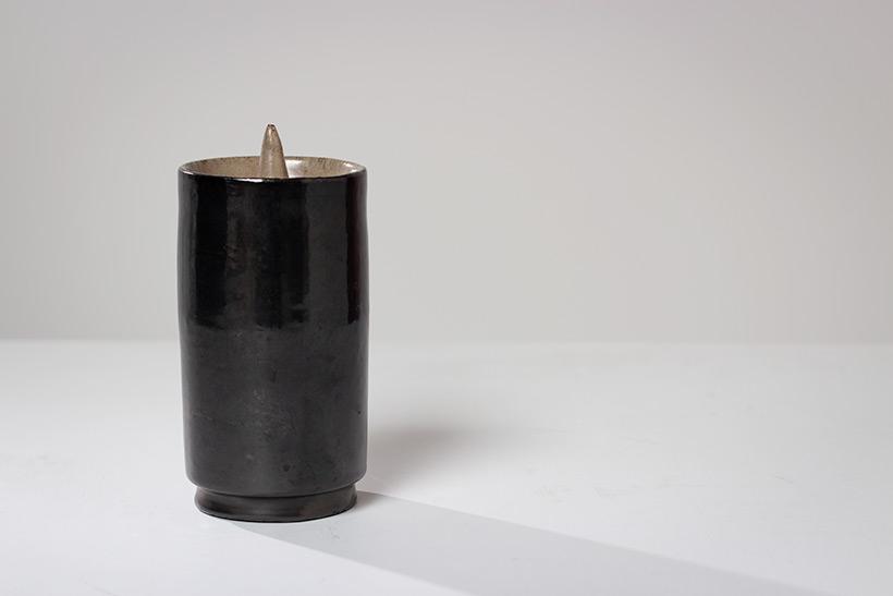 Perignem black cylindrical vase Belgian Ceramic 1960 img 3
