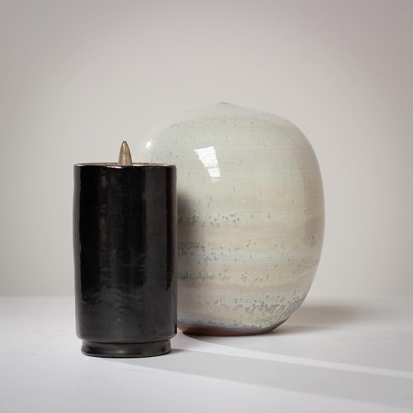 Perignem black cylindrical vase Belgian Ceramic 1960 img 6