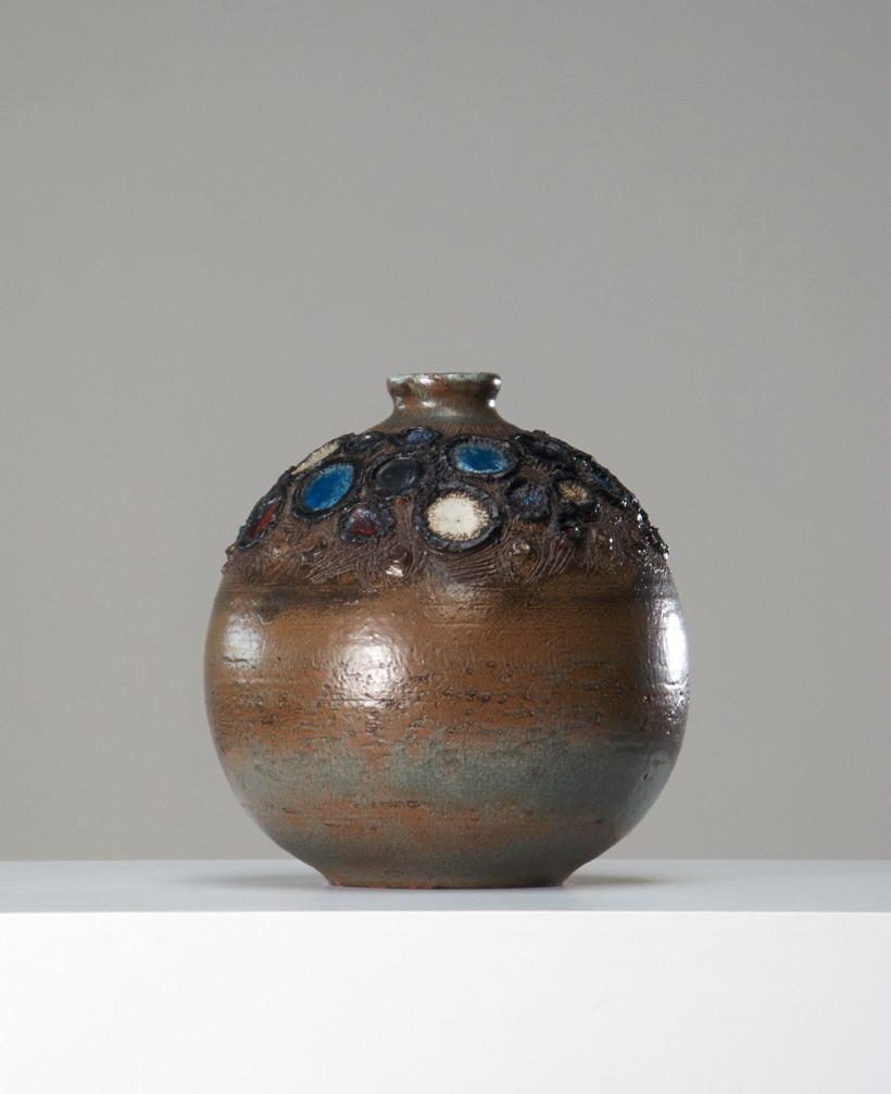 Perignem round shaped vase Belgian Ceramic