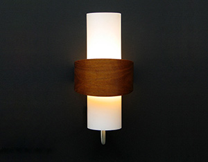 Philips modern wooden milk glass wall light Eames Wegner era