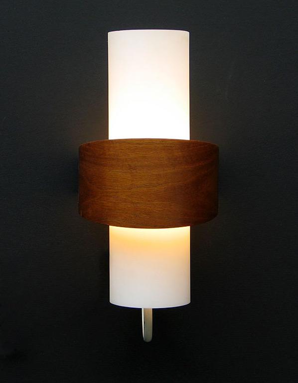 Philips modern wooden milk glass wall light Eames Wegner era