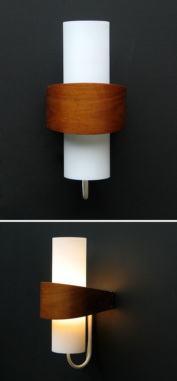 Philips modern wooden milk glass wall light Eames Wegner era Large
