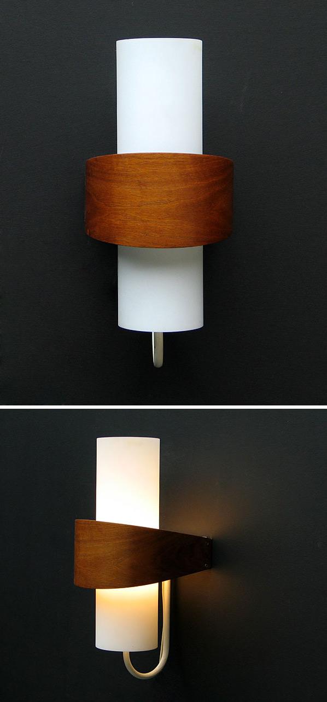 Philips modern wooden milk glass wall light Eames Wegner era Large