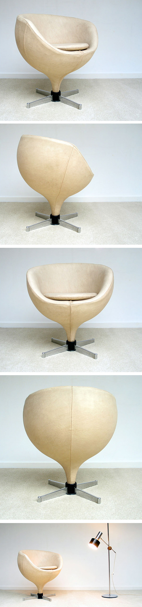 Pierre Guariche ball side chair model Luna Meurop 1960 Large