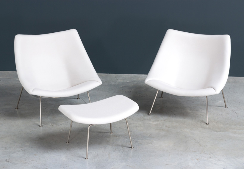 Pierre Paulin pair of Oyster F159 lounge chairs and ottoman Artifort img 8