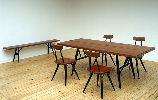 Pirkka chairs table and bench Ilmari Tapiovaara Finland 1955