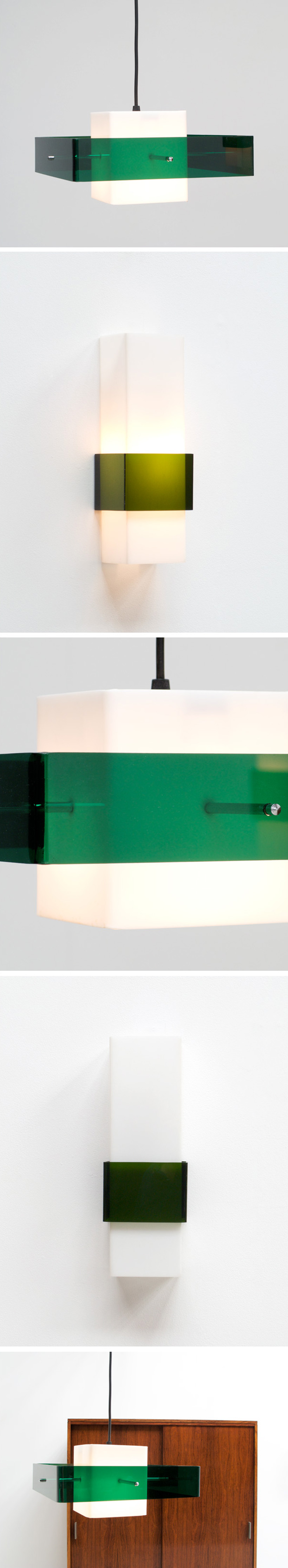 Plexiglass Pendant light and sconce 1970 Large