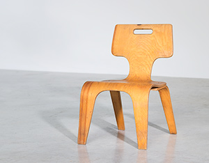 Plywood children chair by Toy Labs Michigan circa 1955