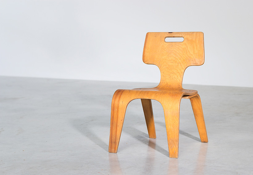 Plywood children chair by Toy Labs Michigan circa 1955 Large