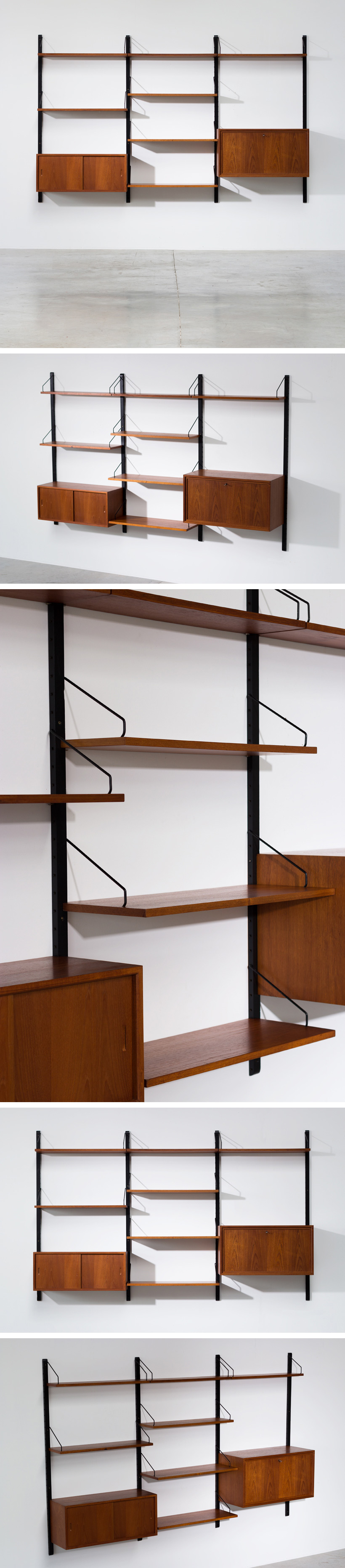 Poul Cadovius teak Wall Unit with desk for Royal System Large