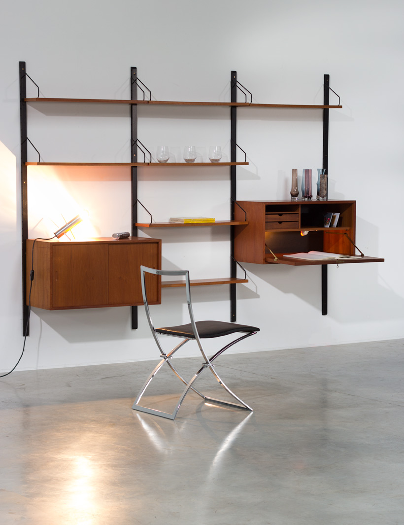 Poul Cadovius Teak Wall Unit with desk Royal System