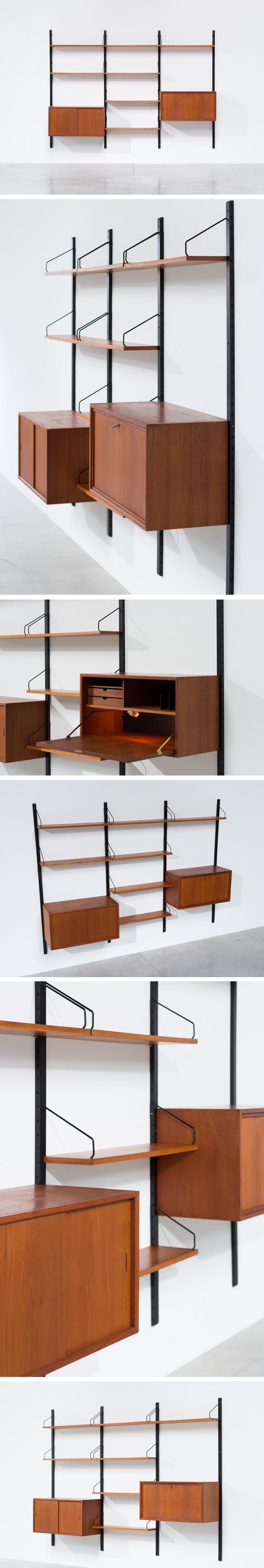 Poul Cadovius Teak Wall Unit with desk Royal System Large