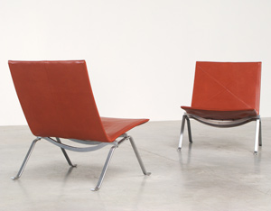 Poul Kjaerholm pair PK 22 lounge chairs E Kold Christensen